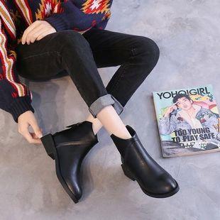 888chic短靴子女英伦风裸靴女2019新款短靴百搭拉链平底切尔西靴