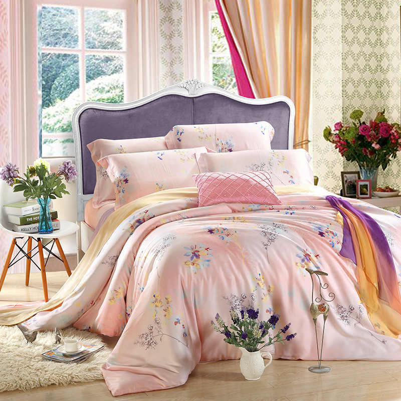 The spring and summer of four sets of 100% genuine Double Tencel 1.5/1.8m bedding sheets fitted 4 piece