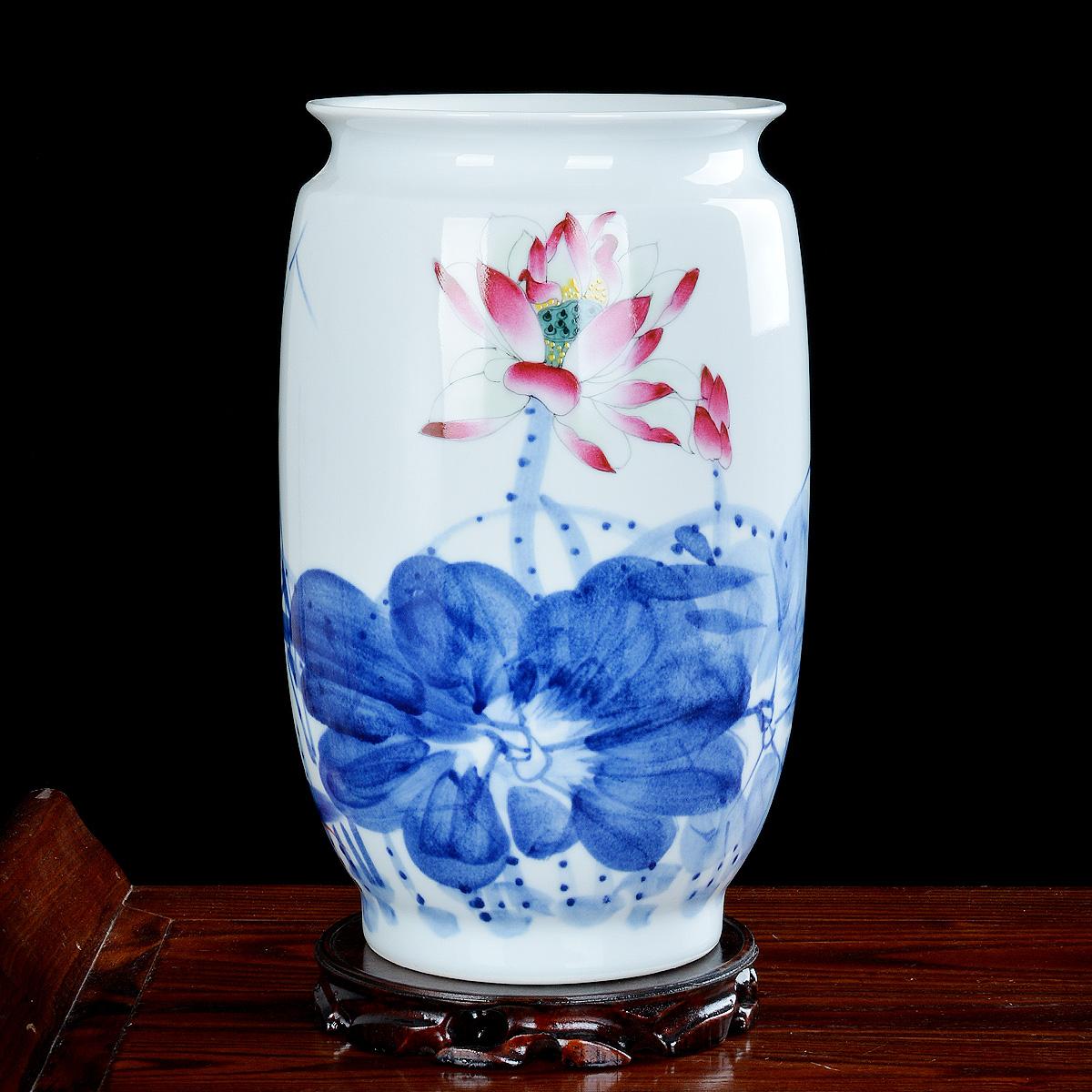 石榴瓶(高度29厘米寬度26)景德鎮陶瓷花瓶 純手繪青花瓷器中式家居裝飾客廳工藝品擺件擺設