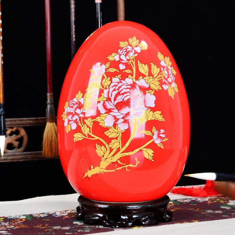 景德鎮陶瓷花瓶中國紅瓷器現代家居裝飾富貴蛋工藝品客廳結婚擺件