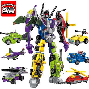启蒙变形金刚拼装玩具益智7儿童3-6周岁9-10岁兼容乐高积木男孩子