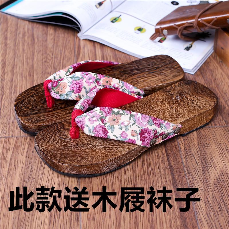 夏季凉拖民族女士木屐拖鞋 人字拖夹脚和服木屐 桐木平跟木屐