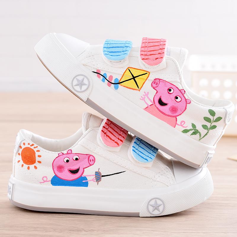 儿童帆布鞋秋女童布鞋手绘卡通童鞋魔术贴小白鞋男童板鞋宝宝球鞋