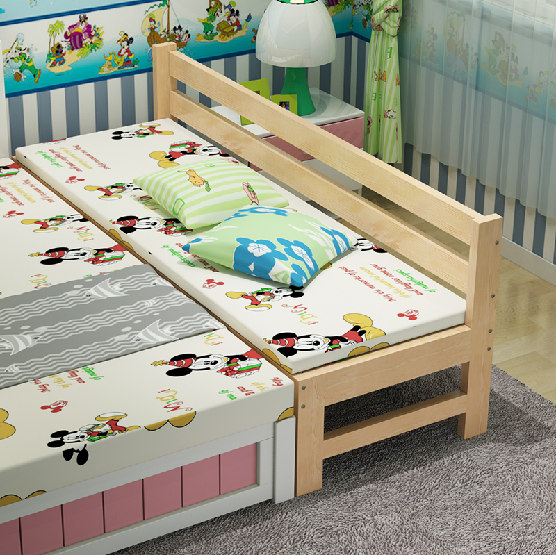 Mail bed, widened bed, lengthened solid wood bed, pine bed frame, children's single bed stitching bed can be customized double