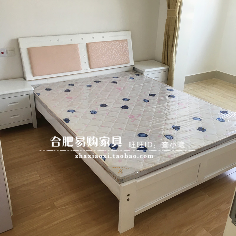 1.5 meter wooden cedar wood bed rental housing double bed by simple soft white bed furniture in Hefei
