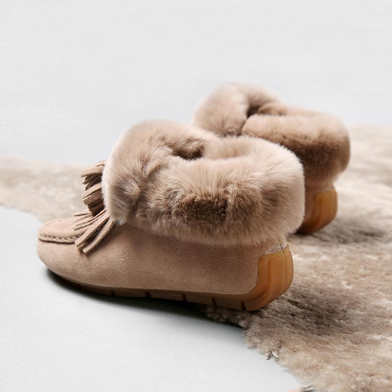兔毛豆豆鞋女冬加绒真皮流苏平底单鞋毛毛棉鞋韩版保暖雪地短靴女