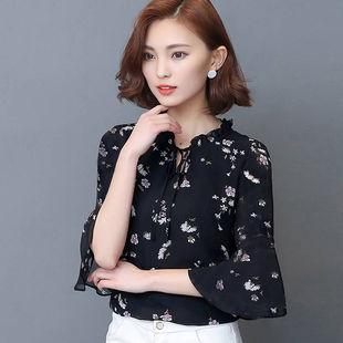 促销2020春韩版七分袖女时尚气质衫蝴蝶结喇叭袖上衣柔美雪纺衬衫