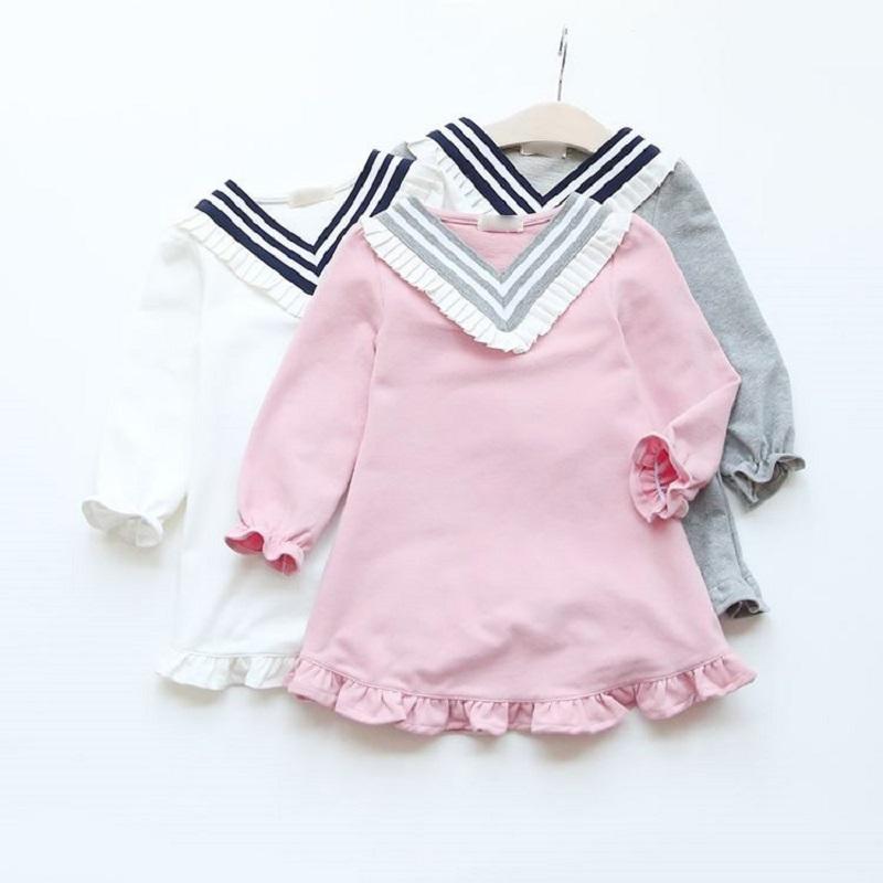 秋装新款儿童韩版V领海军风花边连衣裙长袖淑女童装娃娃裙子0210