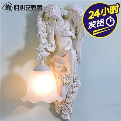 a右邊古希臘風格歐洲人物帶翅膀雕塑手提造型壁燈米白雕刻樹脂歐式家裝