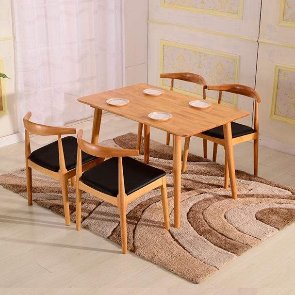 El Roble blanco de mesa de comedor moderno minimalista combinada de pequeño tamaño de la Mesa 4 6 personas en la Mesa de buffet