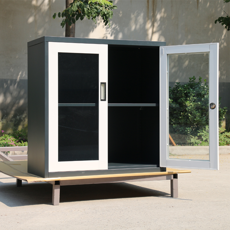 Porta de vidro, porta de metal armário de arquivo de arquivos de baixo o armário estante armário armário de porta de correr armário Novo