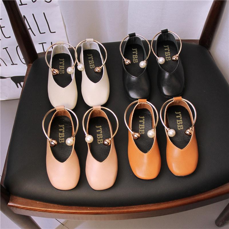 2017秋季新款女童皮鞋奶奶鞋黑色休闲单鞋套脚罗马鞋软底学生瓢鞋