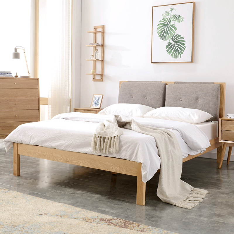 Nordic wood bed bedroom with double bed 1.8 meters 1.5 meters of soft oak backrest bed Japanese minimalist modern marriage bed