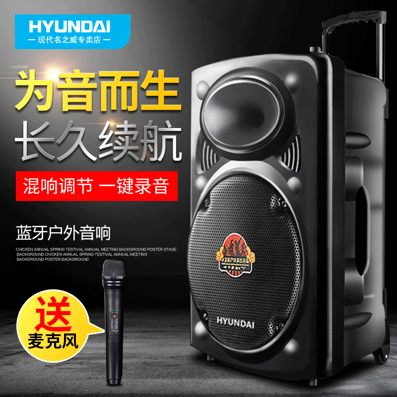 12 inch square dance sound high power lever box Bluetooth heavy bass outdoor mobile with wireless microphone