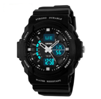 The alarm clock movement outdoor running watch luminous students electronic watch waterproof chronograph multifunctional metal double display table