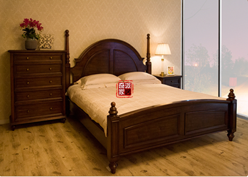 American made old mortise and tenon structure, all solid wood column bed, birch double bed, country log Furniture Customization