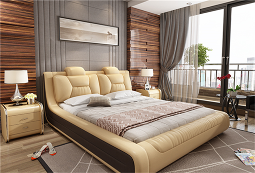 Simple leather bed master bedroom atmosphere of 1.8 meters 1.5 meters double bed recommended selling wedding bed Jane