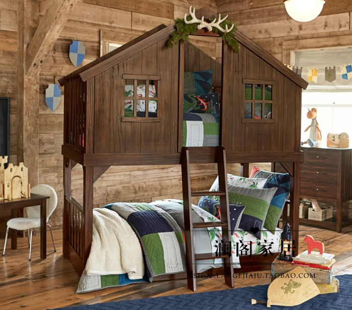 French retro furniture export foreign trade, American countryside, lower berth oak, solid wood children's bed, Mediterranean style