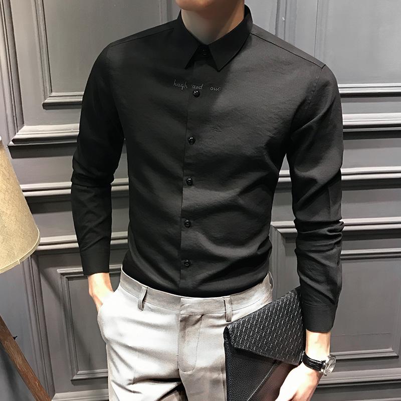 冬季新款刺绣男士长袖衬衫免烫韩版修身休闲黑色男寸衫男装衬衣潮