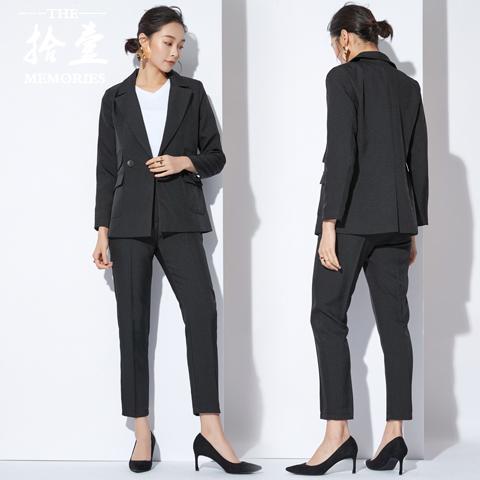 2017秋歐美ol職業小西裝正裝氣質寬松休閑顯瘦西服套裝兩件套女潮