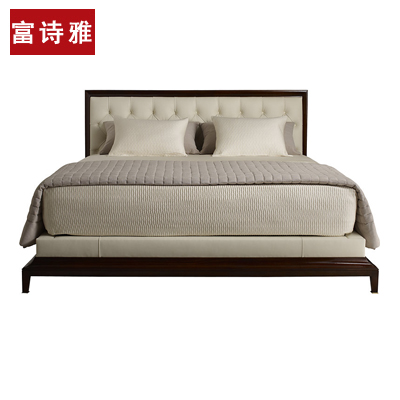 New Chinese style solid wood bed, simple soft marriage bed, hotel, hotel, club furniture, bedroom, guest room double bed