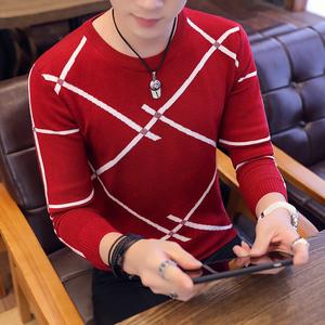 祖玛珑男士秋款长袖t恤男圆领韩版修身时尚条纹潮流针织衫上衣服