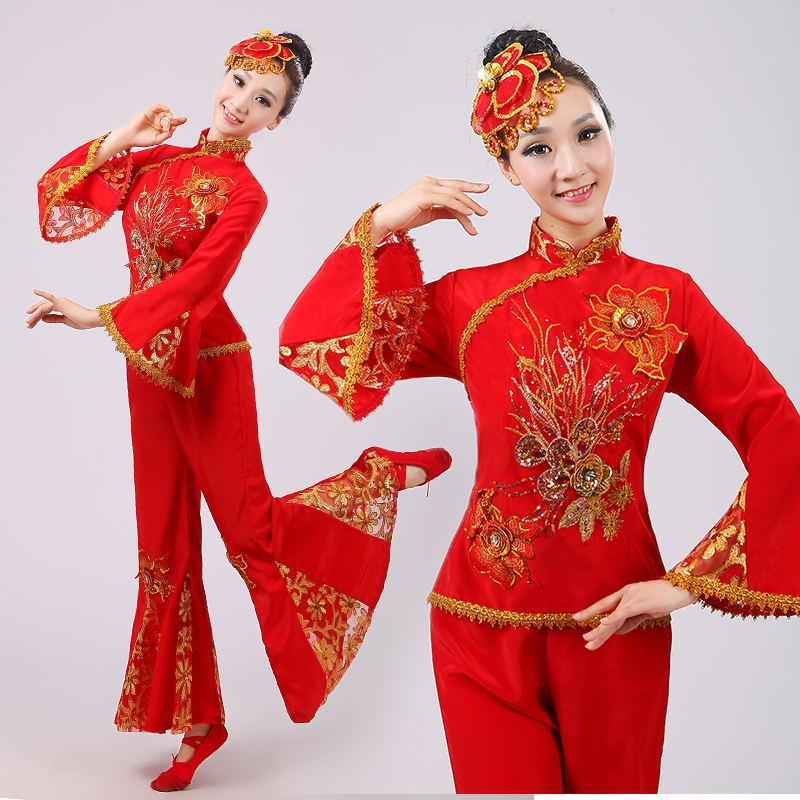 民族秧歌舞蹈服装扇子舞古典舞台服中老年广场舞表演服2017新款女