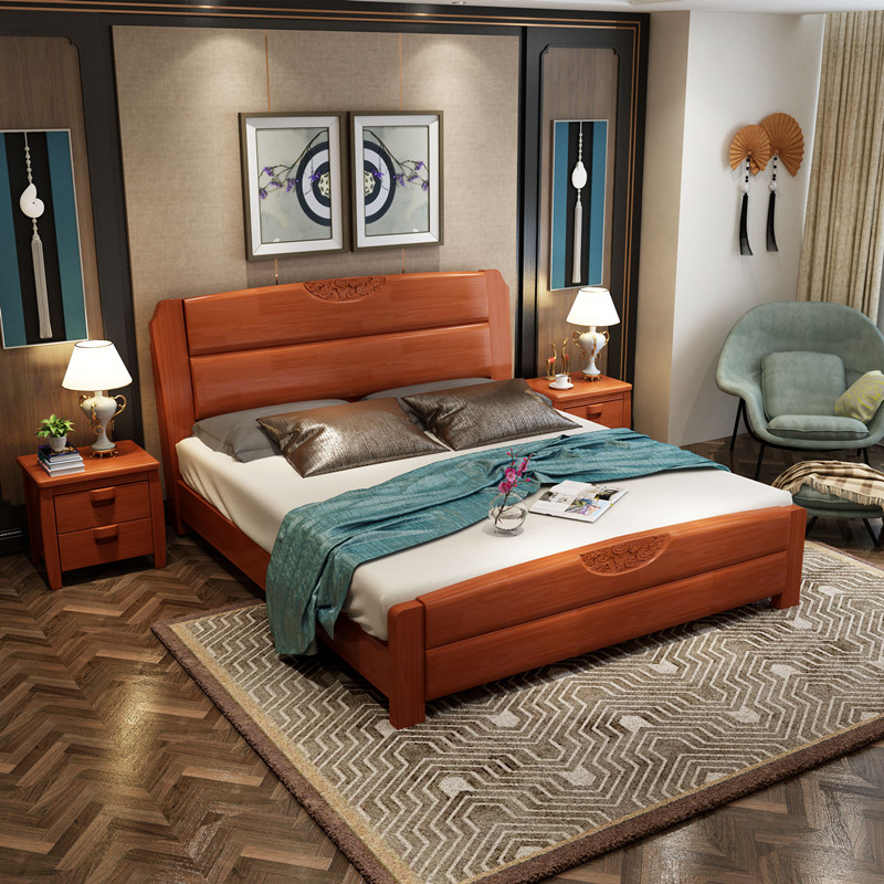 Chinese solid wood bed, 1.5 meters, 1.8 meters, 1.2 meters, 1.35 high box storage oak double children's bed carving marriage bed