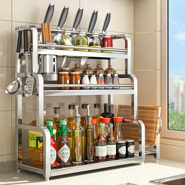 加厚厨房置物架落地多层不锈钢调料架多功能免打孔刀具收纳架