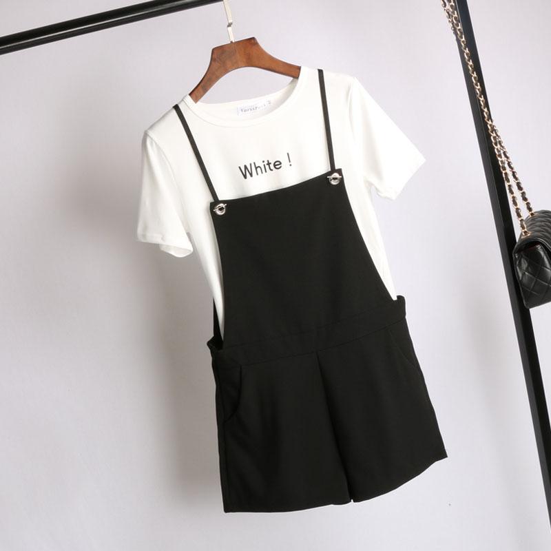 黑色背帶短褲女夏2017新款韓版寬松西裝弔帶連體褲顯瘦闊腿背帶褲