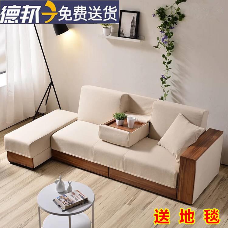 折り畳み式の多機能収納ソファベッドの小型の布で三人PU皮収納洗い張りラテックス両用
