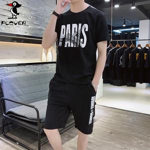 Plover两件套男士短袖T恤男装潮流 2019新款套装体恤男 夏季休闲