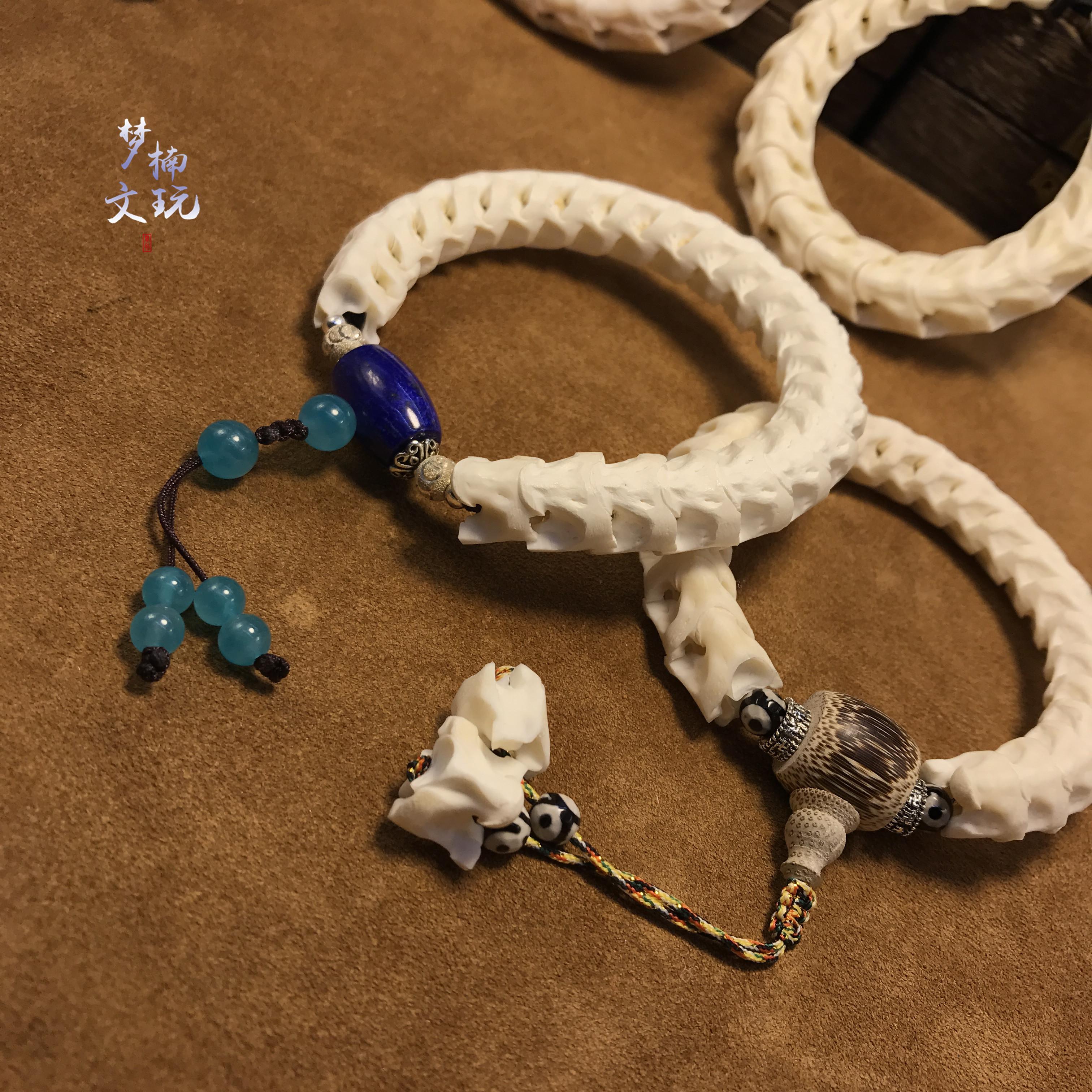 (青金款)12mm泰國蛇骨手鏈定制款天然文玩手串情侶時尚飾品辟邪男禮物