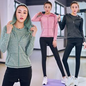 健身房运动套装女瑜伽装备初学者2018新款跑步长袖春夏健身服女