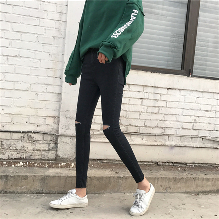 秋季2017新款韩版潮修身弹力显瘦高腰破洞小脚牛仔裤九分铅笔裤女