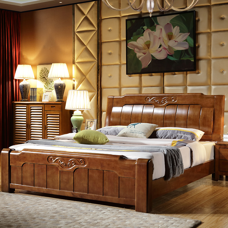 Solid wood bed double 1.8 meters, new Chinese oak high box storage drawer, marriage bed simple modern master bedroom furniture
