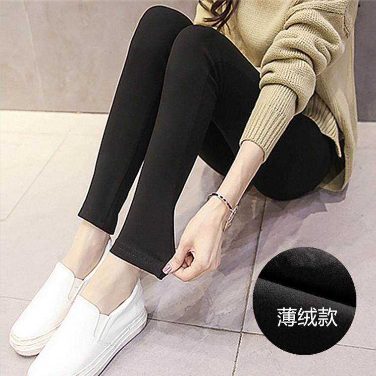 黑色外穿打底裤女士冬季加薄绒款铅笔紧身裤春秋弹力小脚裤长裤子