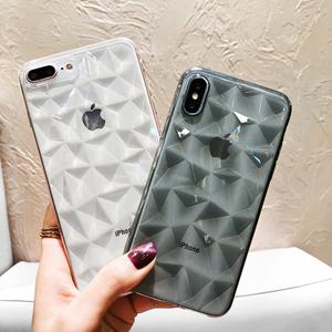 超薄菱格苹果X情侣手机壳iPhone8plus透明菱形软壳7plus男女6潮牌