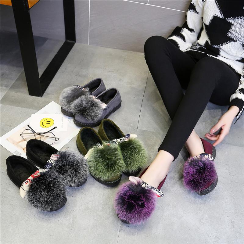 韩版加绒保暖棉鞋女毛