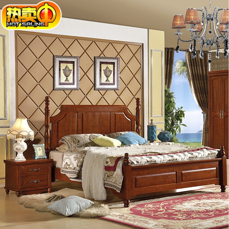 American bed, double bed, European oak, 1.8 beds, 1.5 meters, retro environment, adult marriage bed