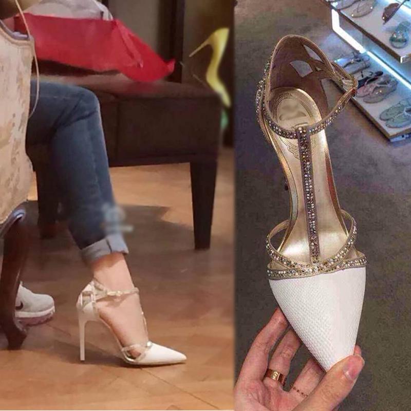 2017夏新款夜店性感单鞋水钻一字扣细跟超高跟鞋女尖头蛇纹凉鞋女