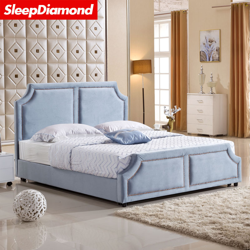 SleepDiamond small American style cloth bed, Nordic small apartment, simple modern cloth bed, round bed, marriage bed double