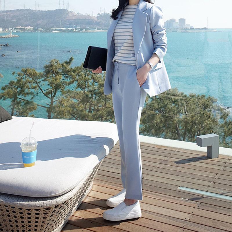 韩版2017春中长款显瘦气质小西装套装女西装外套休闲九分裤两件套
