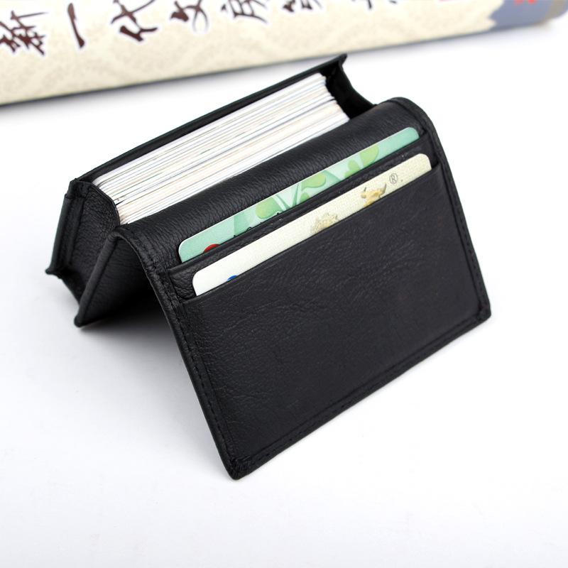 Einfache Männer business Leder VISITENKARTE - Paket schwarzes Leder cardbox große kapazität werden visitenkarten WEIBLICHE karten - Paket