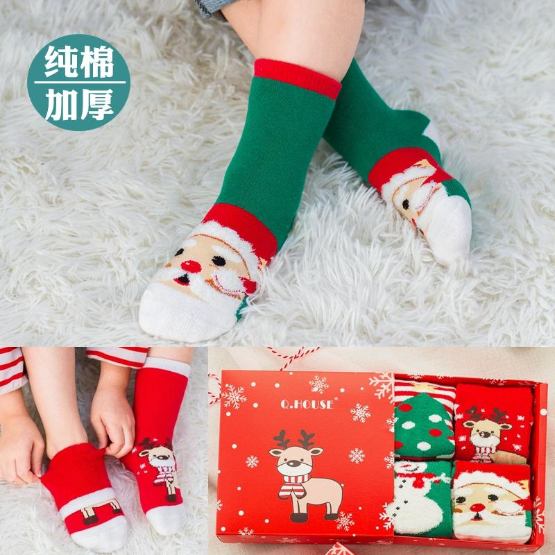 秋冬季儿童纯棉袜子加厚保暖毛巾袜圣诞袜子礼盒男童女童宝宝袜子