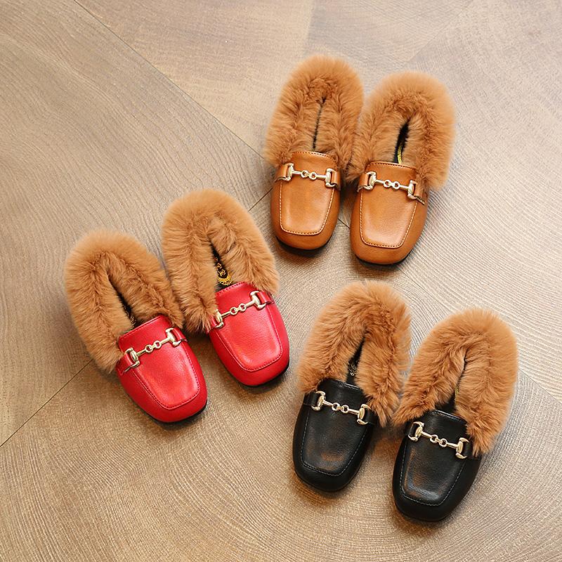 2017冬季新款兔毛儿童鞋女童棉鞋保暖鞋毛毛鞋男童中大童加绒皮鞋