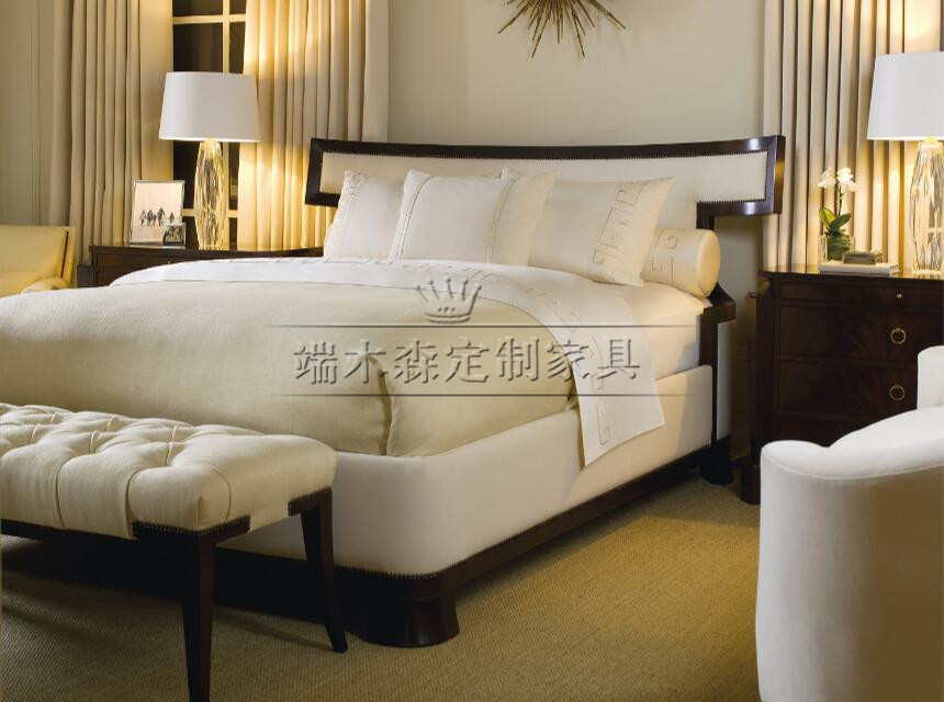 American Modern Neo Classical bedroom custom furniture, cloth double bed 1.5/1.8 meters soft double bed