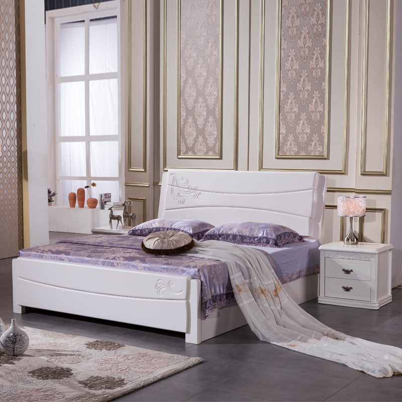 Modern Chinese simple carved bed, oak bed, 1.5 meters, 1.8 meters, solid wood double bed, small apartment, wooden combination bed