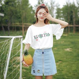2019春夏季新款喇叭短袖t恤女装韩版刺绣圆领宽松学生半袖上衣服