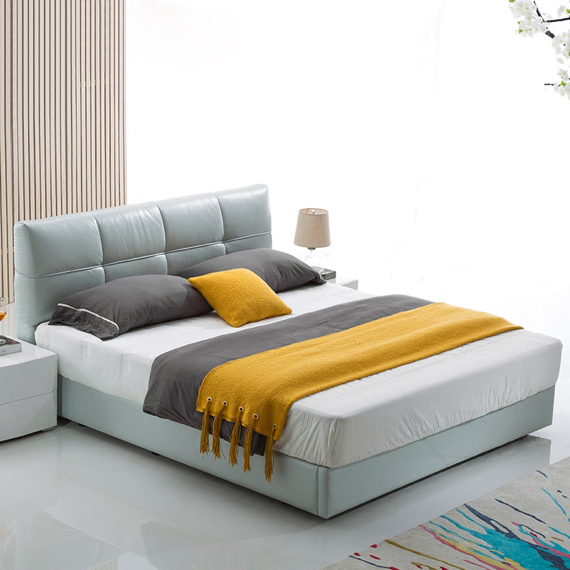 Large-sized apartment modern minimalist mousse leather bed North Oupi bed customized 2 meters 2.2 meters double bed